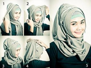 Gambar cara memakai jilbab kreasi modern
